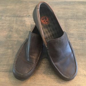 Merrell Throttle Moc Brown Leather Slip On Shoes